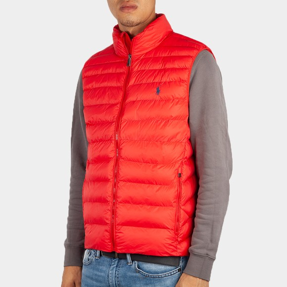 Polo Ralph Lauren Mens Red Terra Packable Quilted Gilet