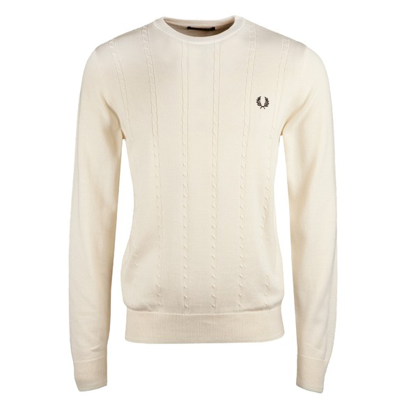 Fred Perry Mens Off-White Cable Knit Crew Jumper
