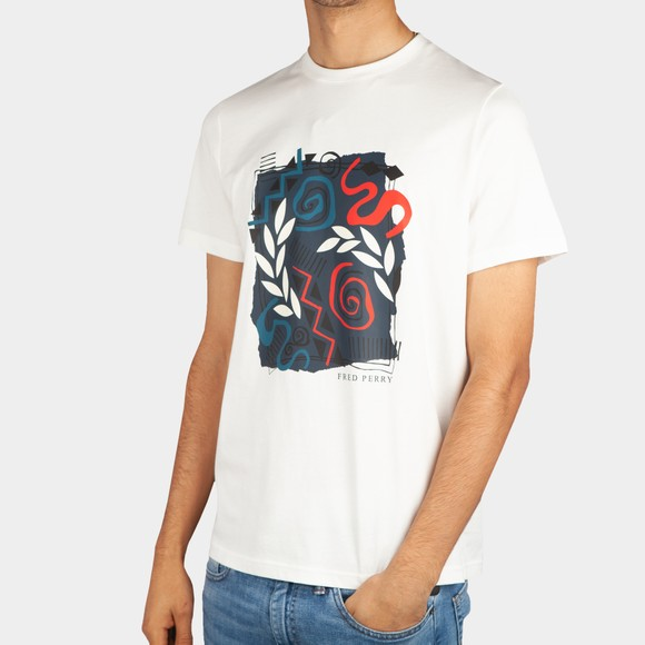 Fred Perry Mens Off-White Mosaic Print T-Shirt