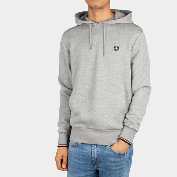Fred Perry Mens Grey Tipped Hooded Sweatshirt