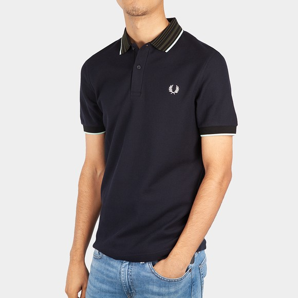 Fred Perry Mens Blue Striped Collar Polo Shirt