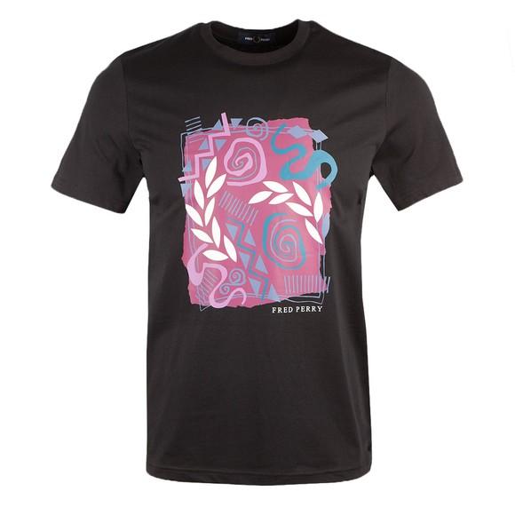 Fred Perry Mens Black Mosaic Print T-Shirt