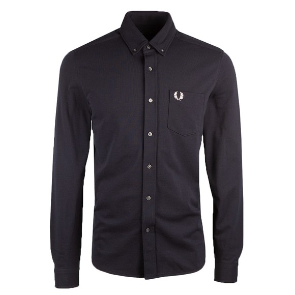 Fred Perry Mens Blue Pique Texture Shirt