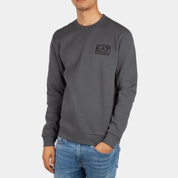 EA7 Emporio Armani Mens Grey Small Box Logo Sweatshirt