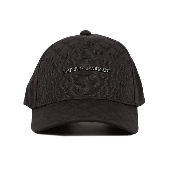 Emporio Armani Mens Black 627924 Allover Eagle Logo Cap