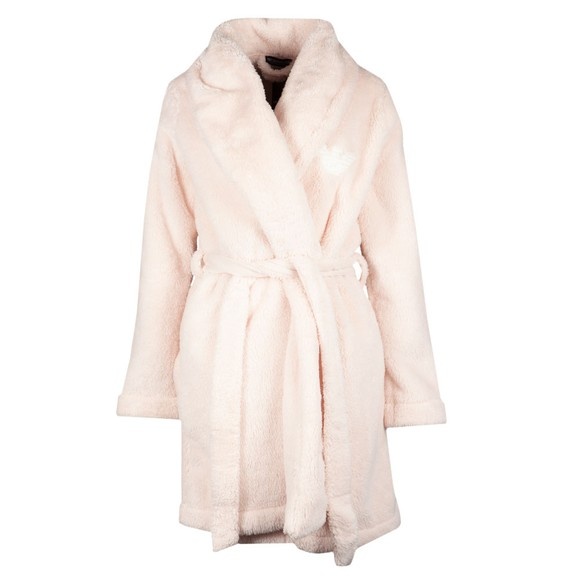 Emporio Armani Womens Pink Soft Badge Logo Dressing Gown