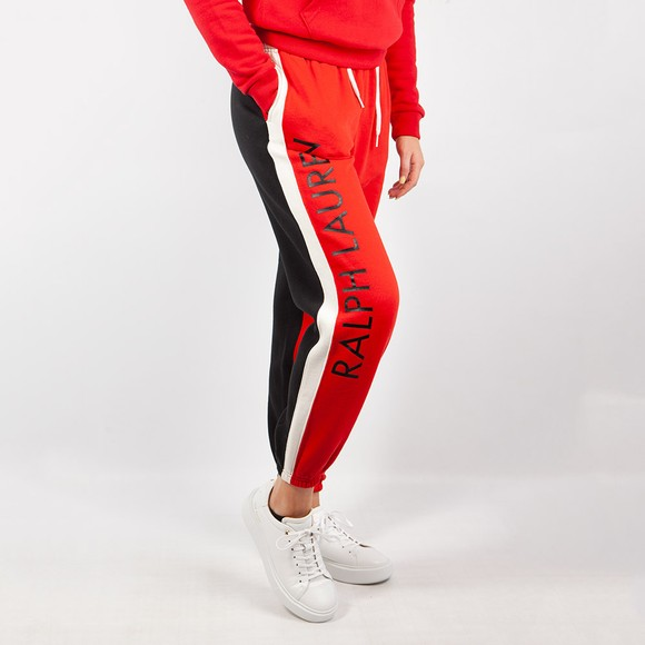 Polo Ralph Lauren Womens Black Colour Block Fleece Jogger