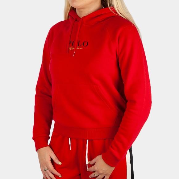 Polo Ralph Lauren Womens Red Small Centre Logo Overhead Hoody