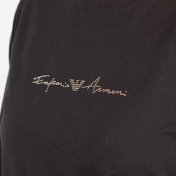 Emporio Armani Womens Black Small Centre Script Logo Top Set main image