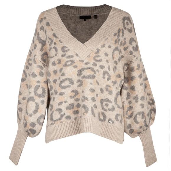 Ted Baker Womens Grey Alicina Animal Jacquard V Neck Sweater