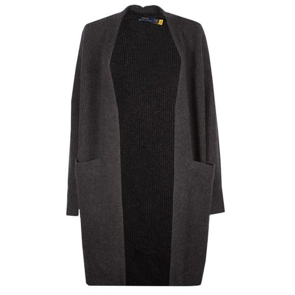 Polo Ralph Lauren Womens Grey Ribbed Wool-Blend Cardigan