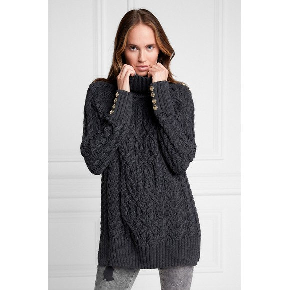 Holland Cooper Womens Grey Greenwich Cable Knit Jumper