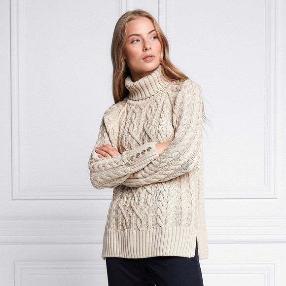 Holland Cooper Womens Beige Greenwich Cable Knit Jumper