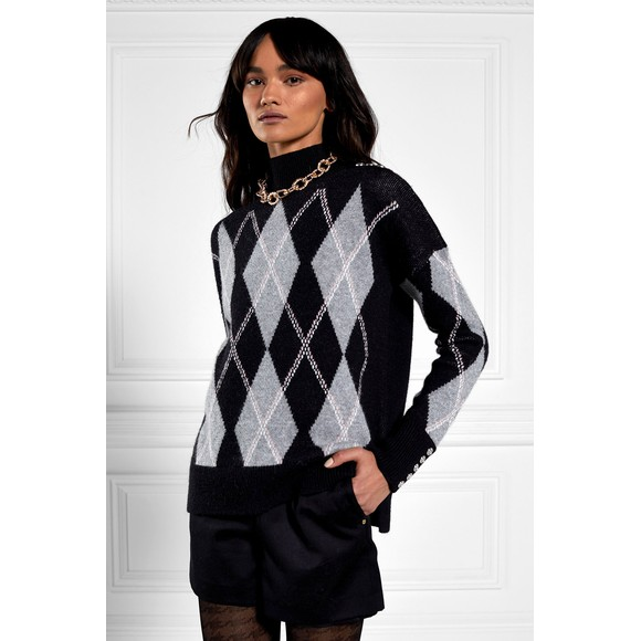 Holland Cooper Womens Grey Heritage Argyle Knit Jumper