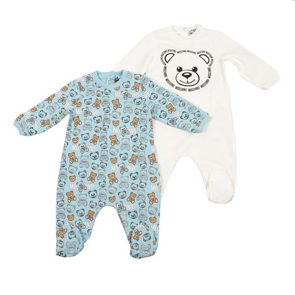 Moschino Boys Blue Bear Babygrow 2 Pack