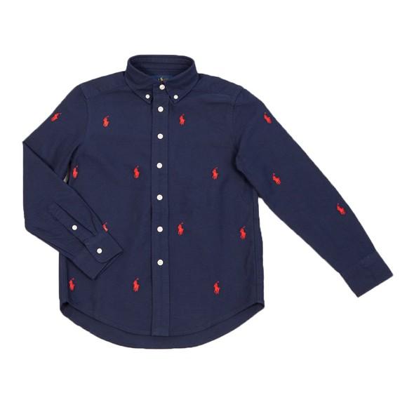 Polo Ralph Lauren Boys Blue All Over Logo Shirt
