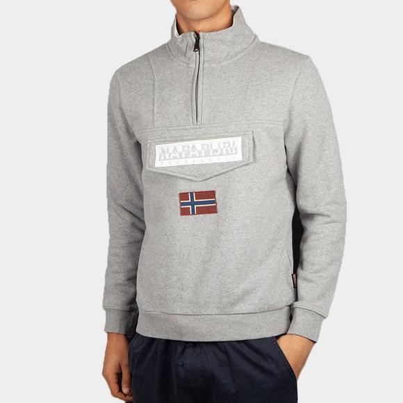 Napapijri Mens Grey Burgee 1/2 Zip Sweatshirt