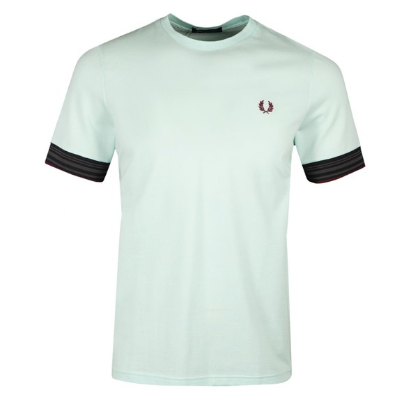 Fred Perry Mens Blue Striped Cuff T-Shirt