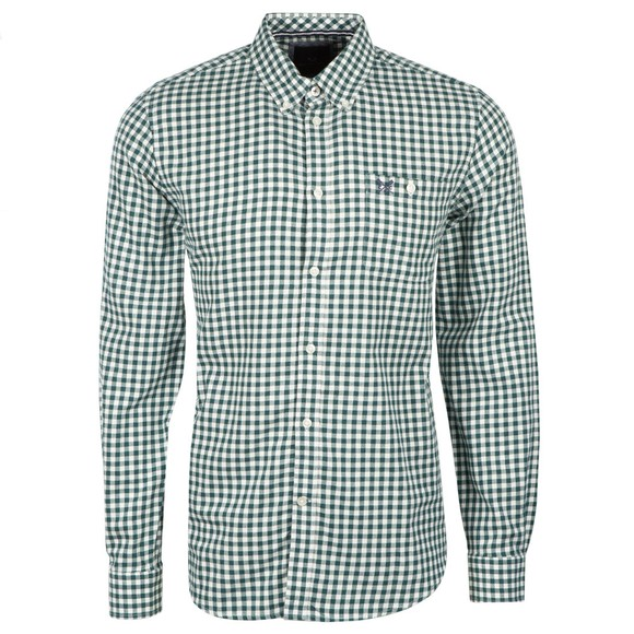 Crew Clothing Company Mens Green Slim Gingham Wool Flannel Shirt