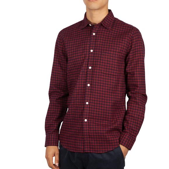 Portuguese Flannel Mens Purple Micro Check Shirt