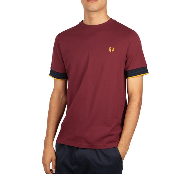 Fred Perry Mens Purple Striped Cuff T-Shirt