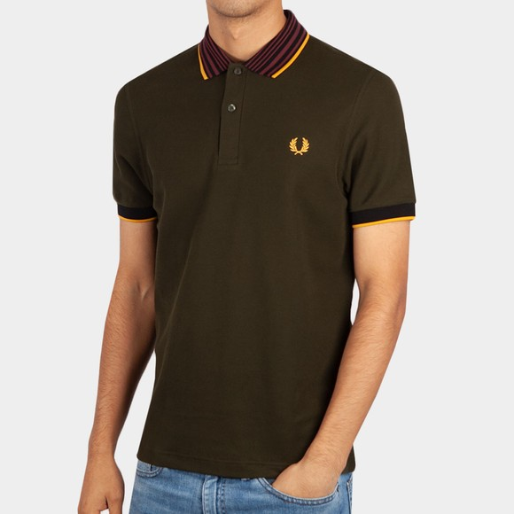 Fred Perry Mens Green Striped Collar Polo Shirt