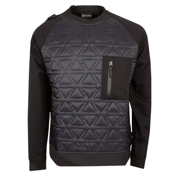 Ma.Strum Mens Black Polygon Crew Tech Sweatshirt