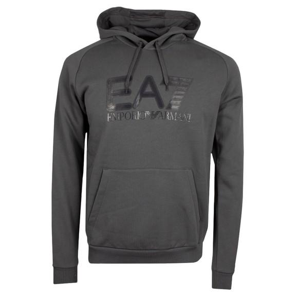 EA7 Emporio Armani Mens Grey Big Logo Hoodie