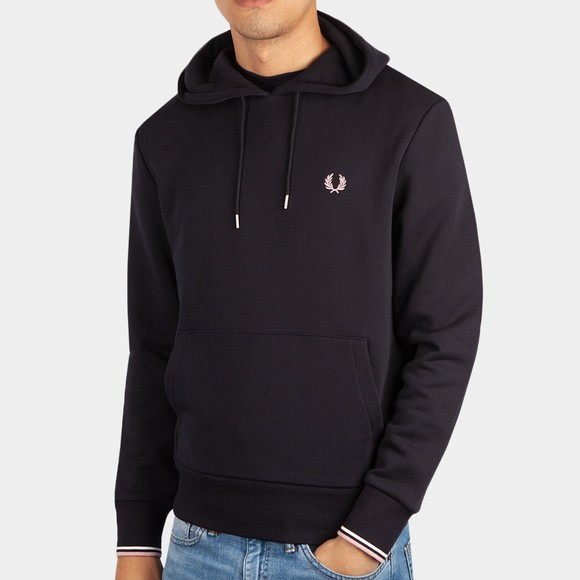 Fred Perry Mens Blue Tipped Hooded Sweatshirt
