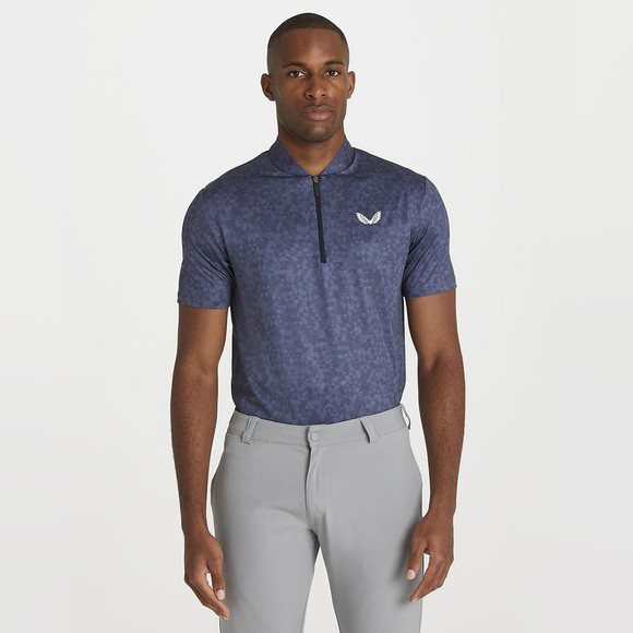 Castore Mens Blue AOP Zip Polo Shirt main image