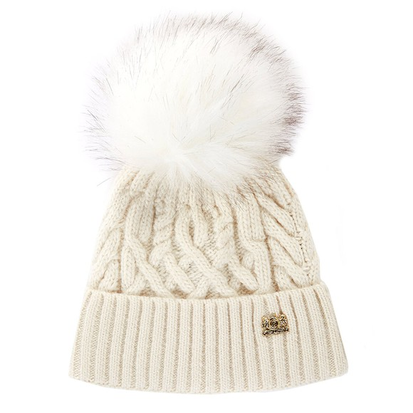 Holland Cooper Womens Off-White Windsor Bobble Hat