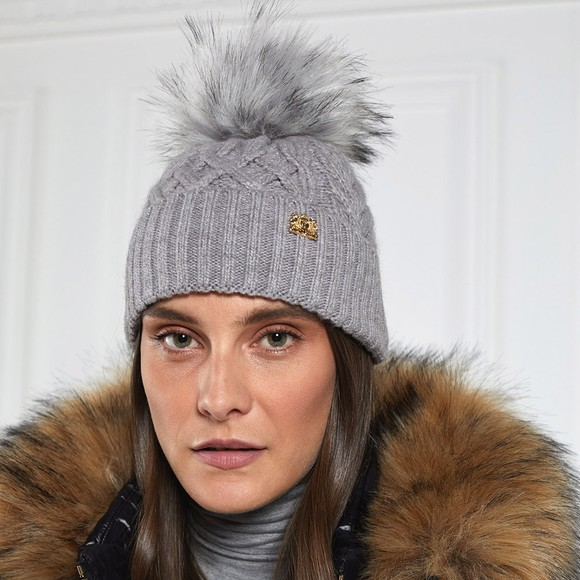 Holland Cooper Womens Grey Windsor Bobble Hat