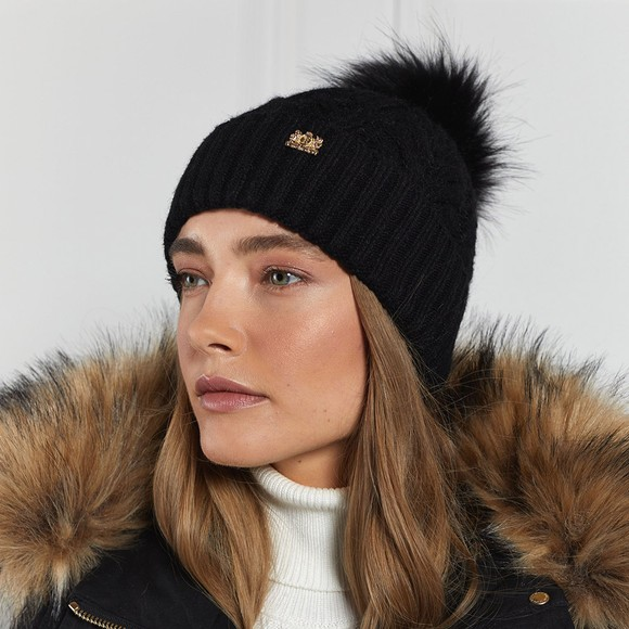 Holland Cooper Womens Black Windsor Bobble Hat