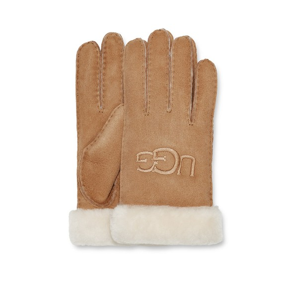Ugg Womens Brown Shearling Embroidered Glove main image