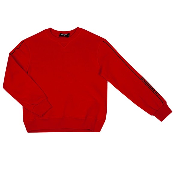 Dsquared2 Boys Red Sleeve Logo Crew Sweatshirt
