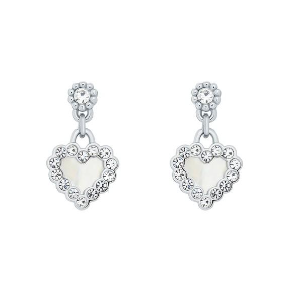 Ted Baker Womens Silver Pearlan Heart Drop Earring