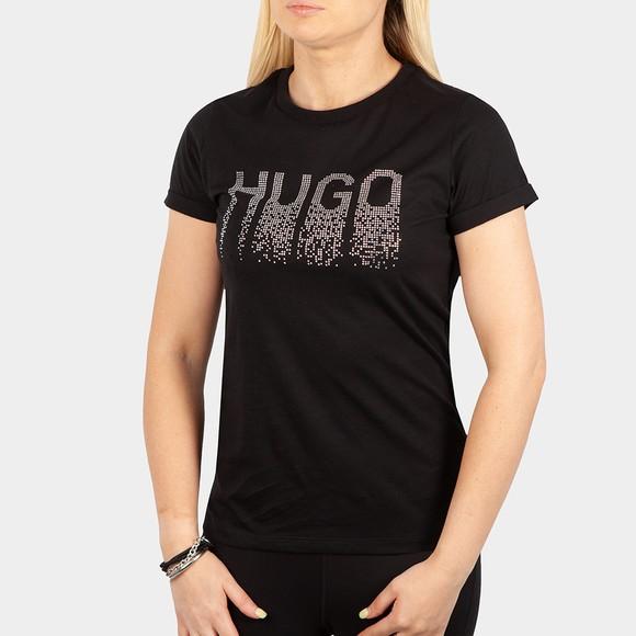 HUGO Womens Black Slim Diamante T Shirt
