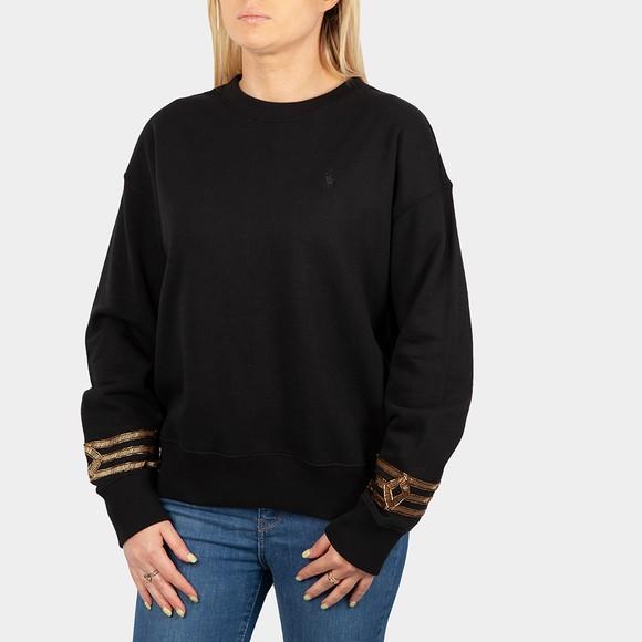 Polo Ralph Lauren Womens Black Embellished Sleeve Sweatshirt