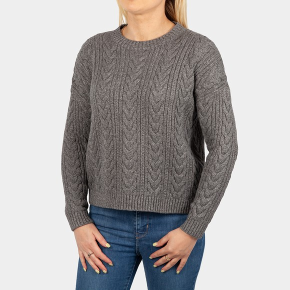 Superdry Womens Grey Dropped Shoulder Cable Crew Jumper