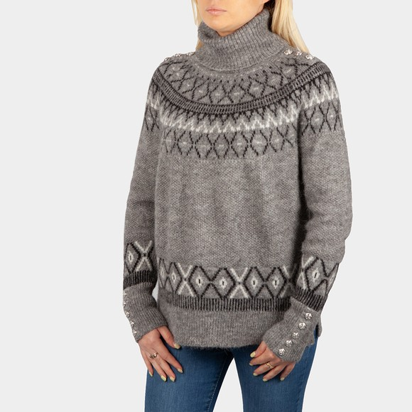 Holland Cooper Womens Grey Fairisle Knit