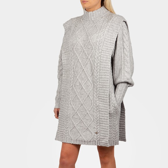 Ted Baker Womens Grey ARRIAA Cable Sweater Dress