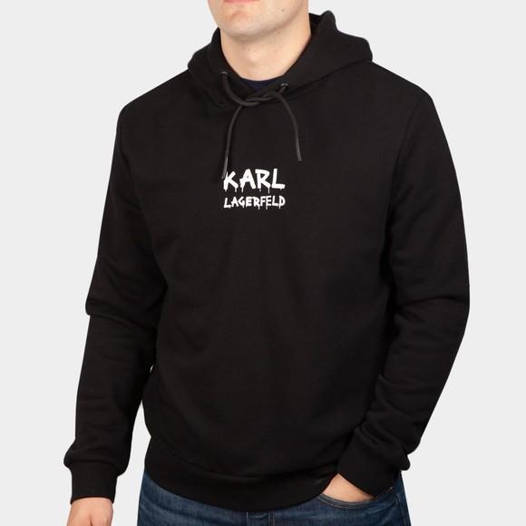 Karl Lagerfeld Mens Black Centre Logo Hoody