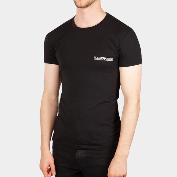 Emporio Armani Mens Black Block Logo Stretch Crew T Shirt
