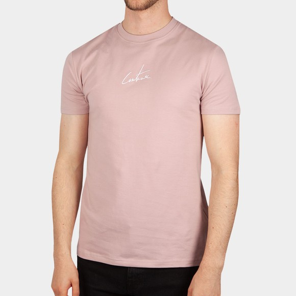 The Couture Club Mens Pink Signature Reverse Slim T-Shirt