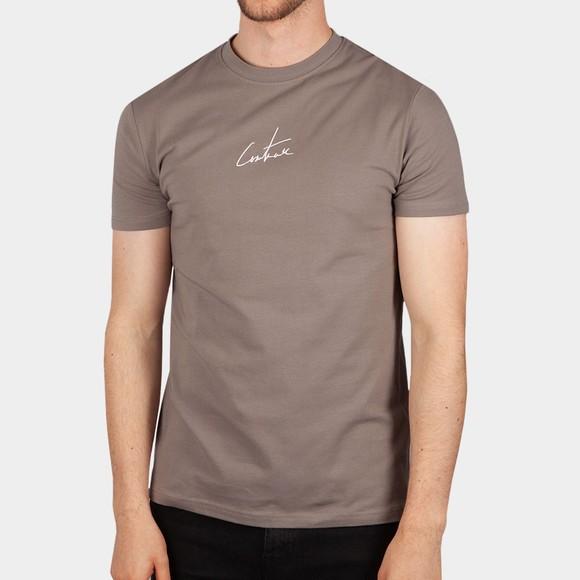 The Couture Club Mens Beige Signature Reverse Slim T-Shirt