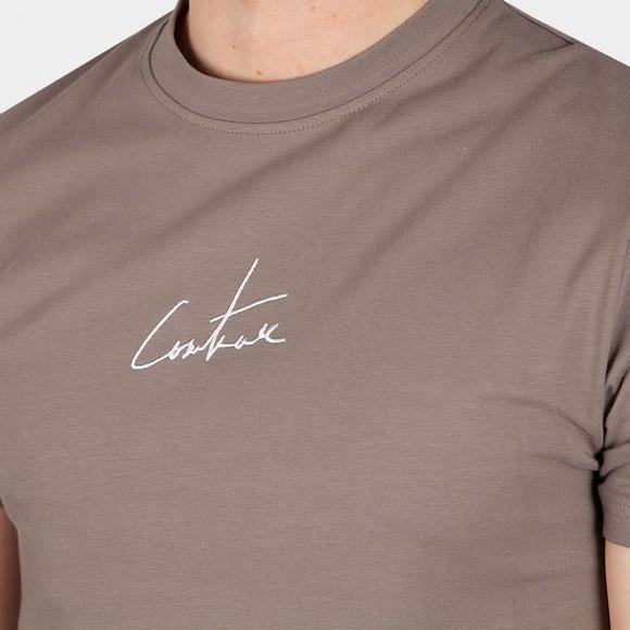 The Couture Club Mens Beige Signature Reverse Slim T-Shirt main image