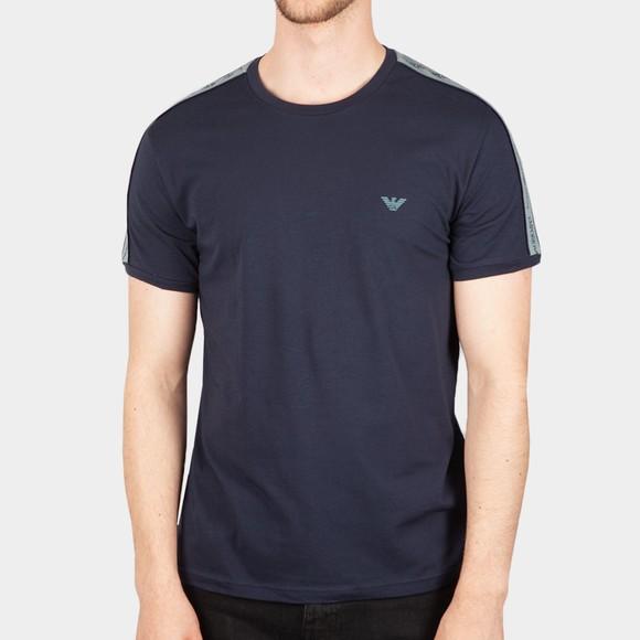 Emporio Armani Mens Blue Tape Logo Stretch T Shirt