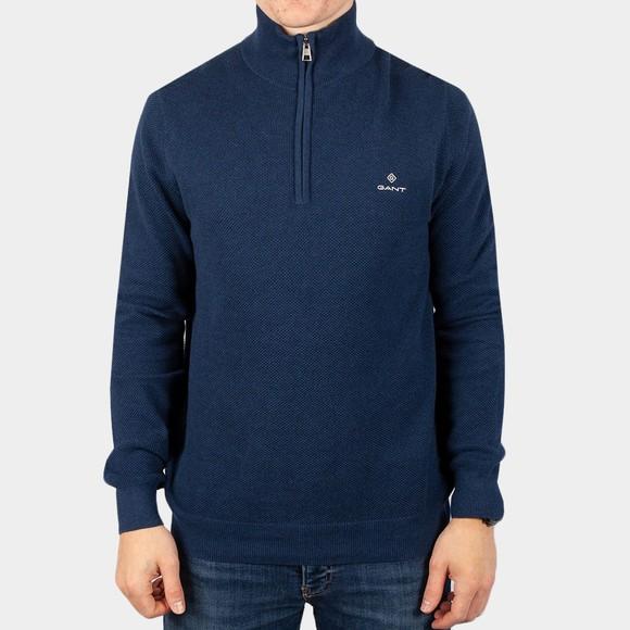 Gant Mens Blue Cotton Pique 1/2 Zip