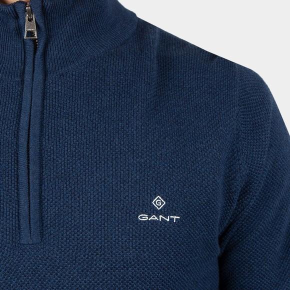 Gant Mens Blue Cotton Pique 1/2 Zip main image