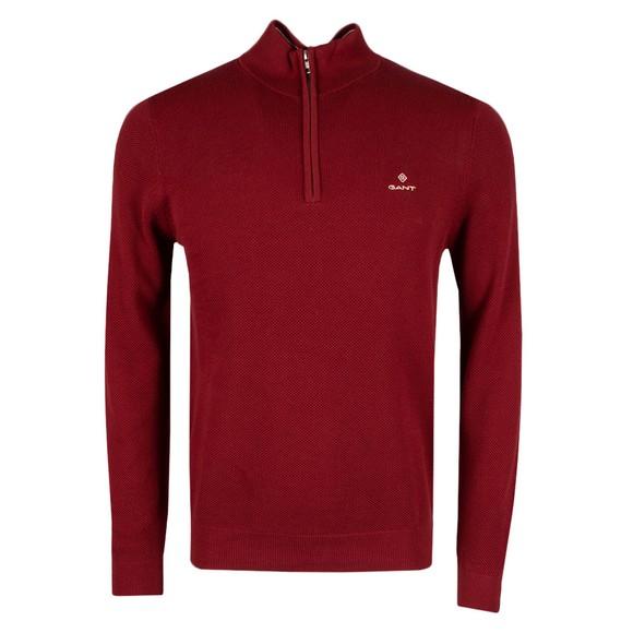 Gant Mens Red Cotton Pique 1/2 Zip main image
